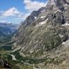 vue sur le val Ferret italien, depuis le grand col Ferret (2537m) : pointe Walker des Grandes Jorasses (4208m)