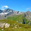 depuis les lacs de fenêtre. Grand Golliat (3238m), Mont Blanc (4810m), pointe Walker des Grandes Jorasses (4208m).